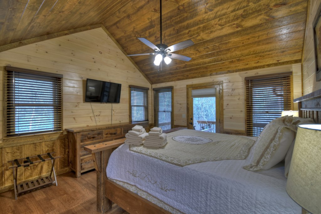 Master bedroom with access to the deck