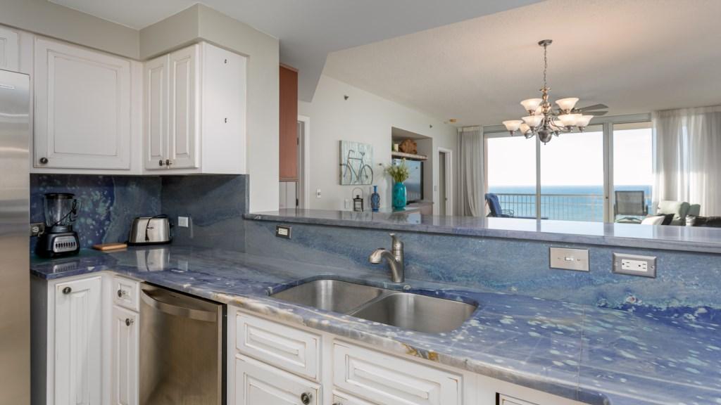 Open kitchen allows you to enjoy the views