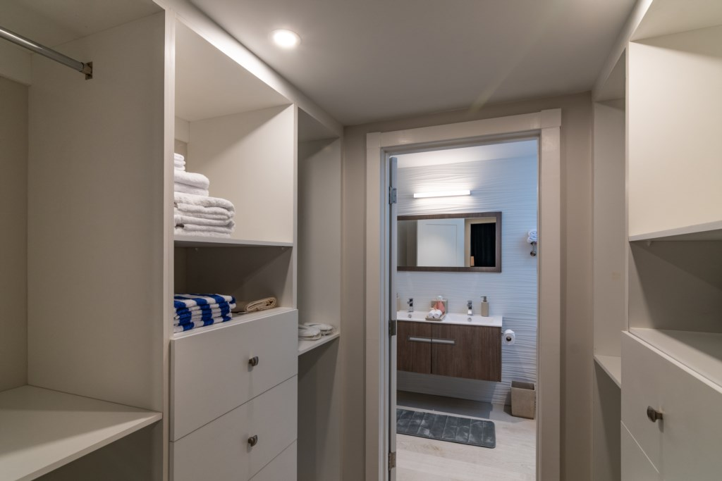 Closet and bathroom