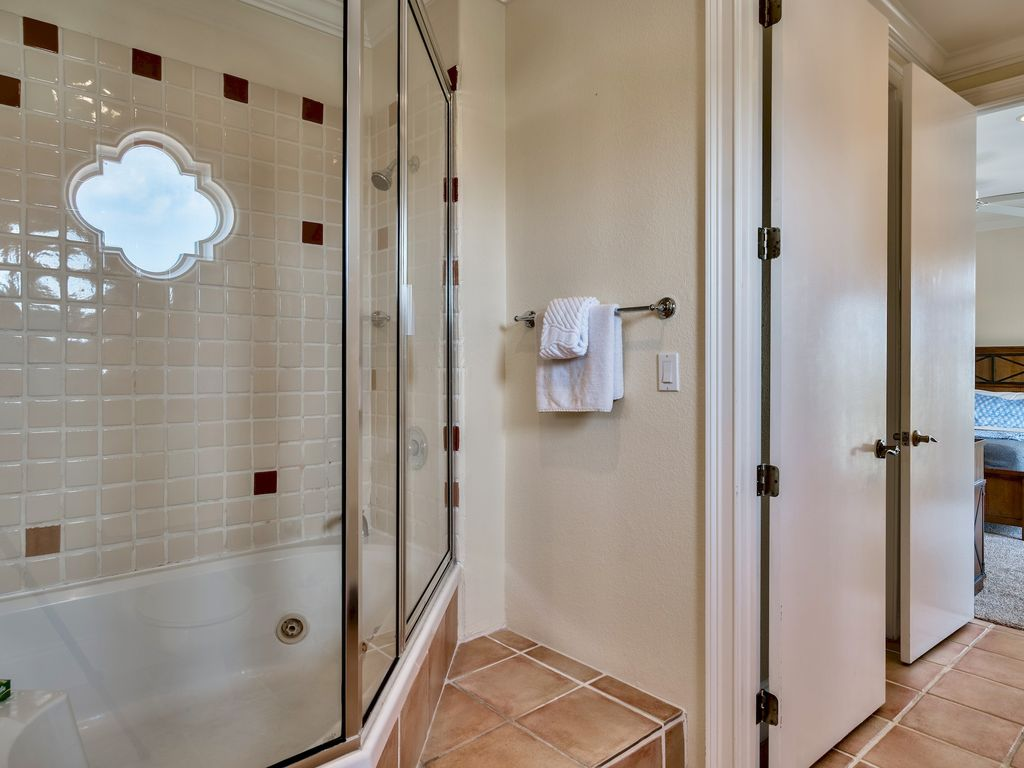 Shower with soaking tub!