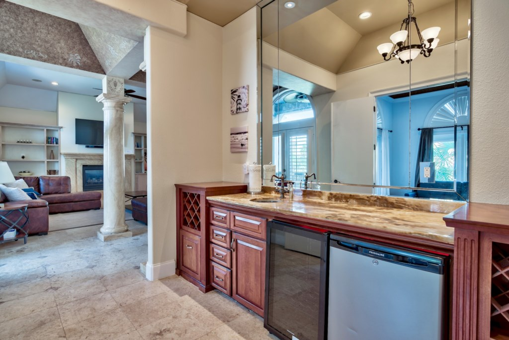Wet bar out side the grand master suite