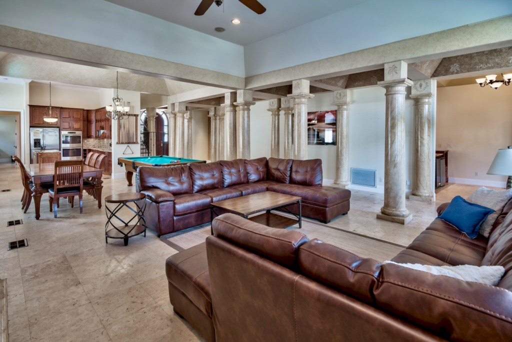 Large Open Space all the way from Kitchen, Dining Room & Pool Table, to the Living Area!