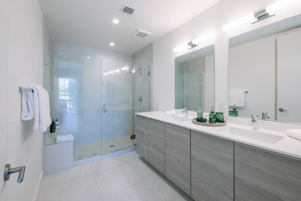 Master Bathroom with huge walk-in shower and double sink vanity