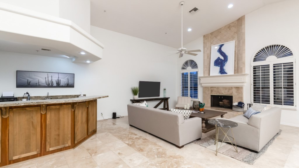 Open living room perfect for large group gatherings