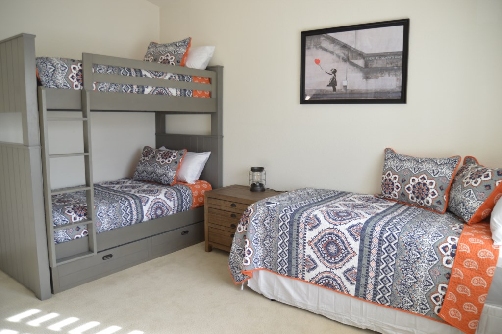 6th Bedroom (Guest Casita) with 4 Full Beds (1 Bunk Bed and 1 Trundle Bed)