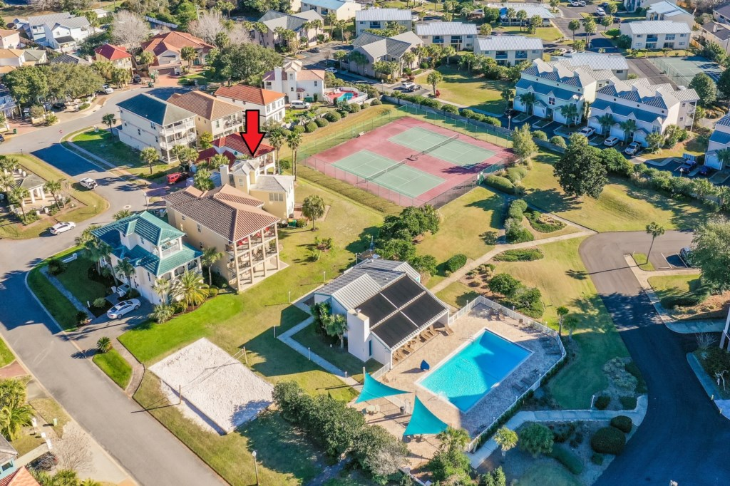 One of the closest homes to the pool, tennis courts & volley ball court!