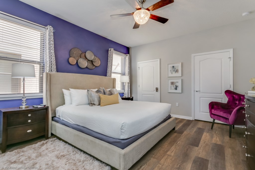 Gorgeous king size bed with flat screen TV and master bathroom