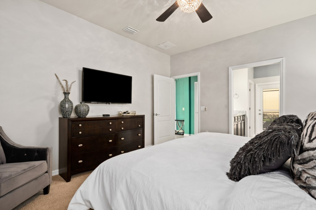 View 2 of breathtaking king size bed with flat screen TV