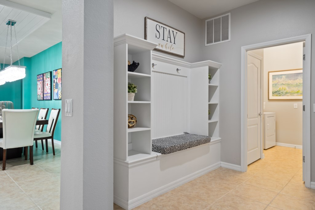 Convenient shelves and laundry room