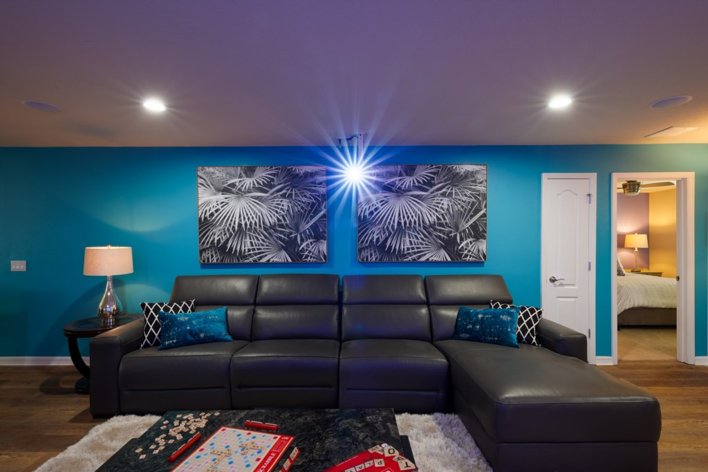 View 2 of fantastic theater room with projector screen