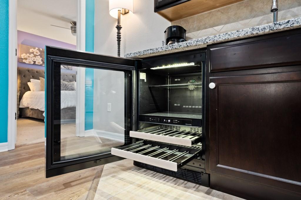Convenient beer and wine fridge
