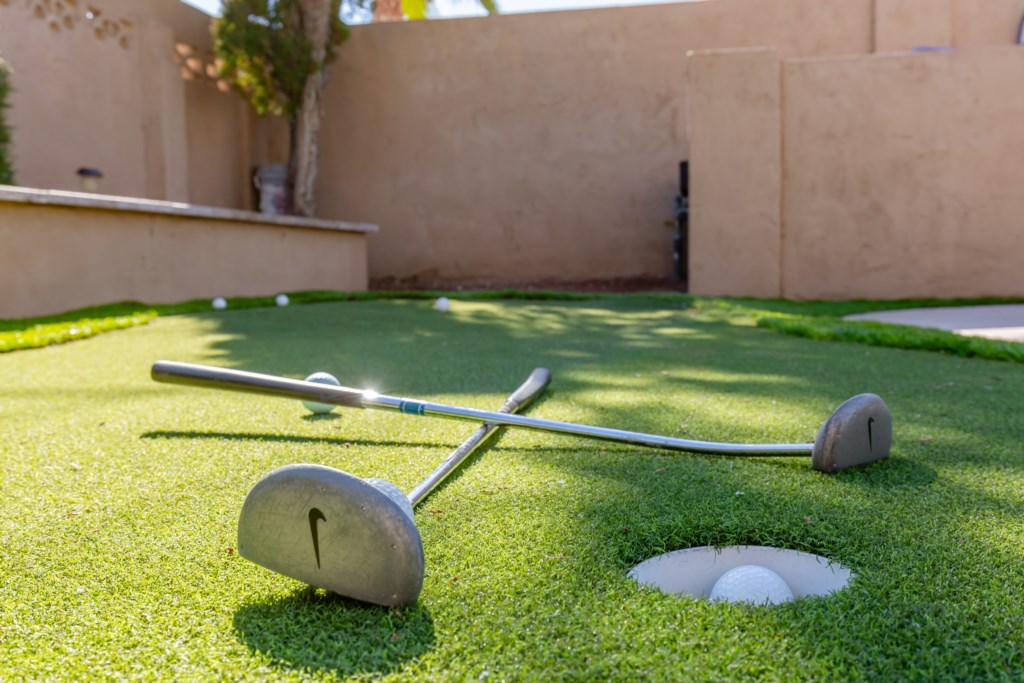 Putting green in the backyard