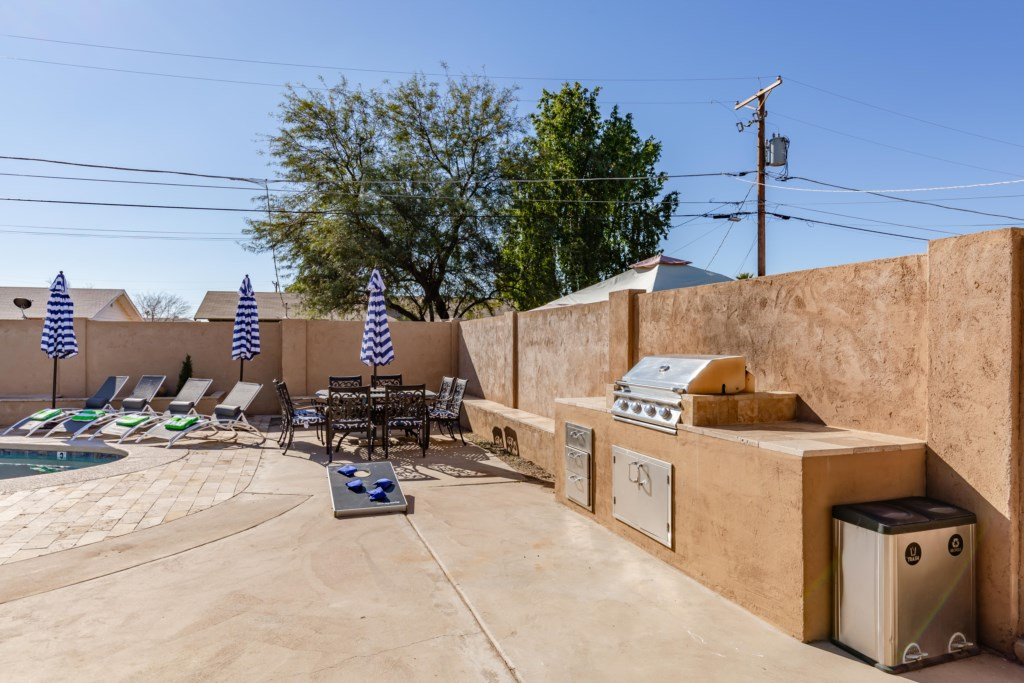 Private backyard pool and BBQ area