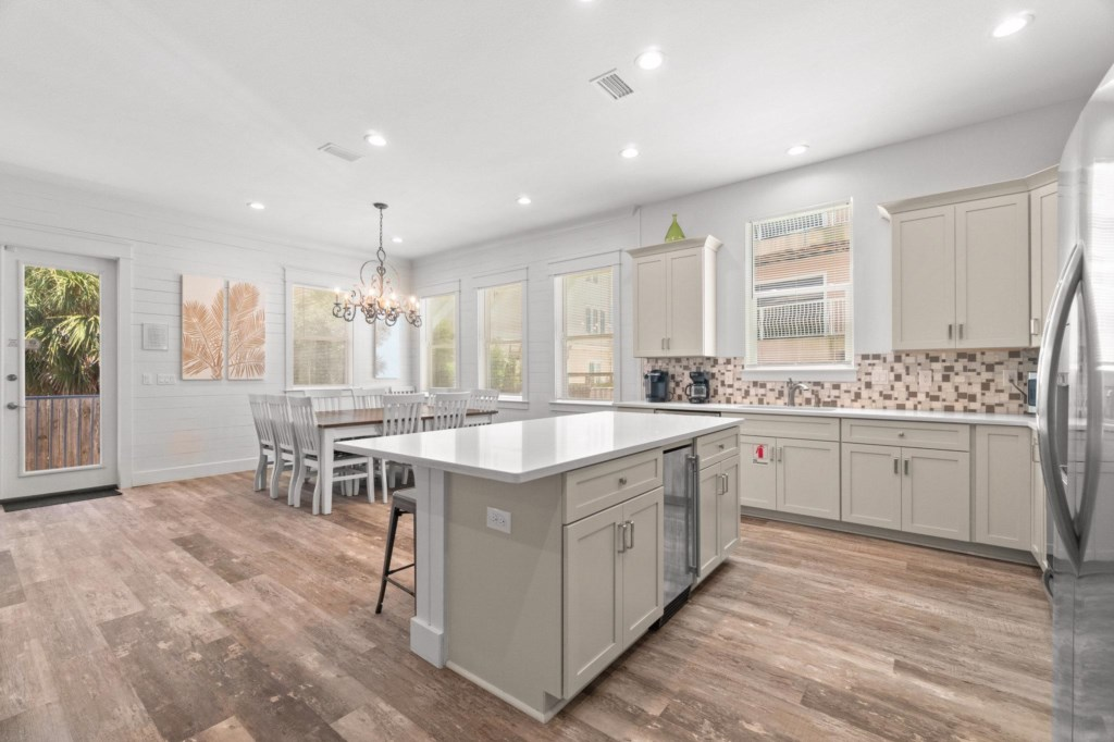 Open concept kitchen and dining
