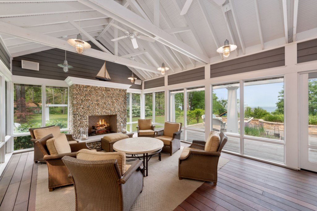 Screened-In Porch with Gas Fireplace!