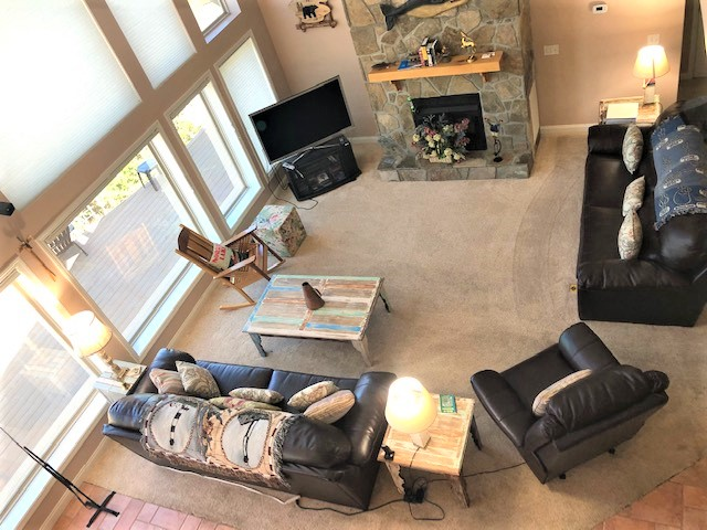 view of living area from loft