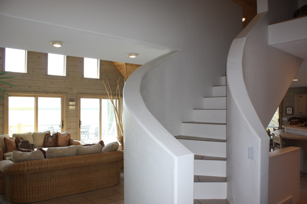 Custom curved stair case.