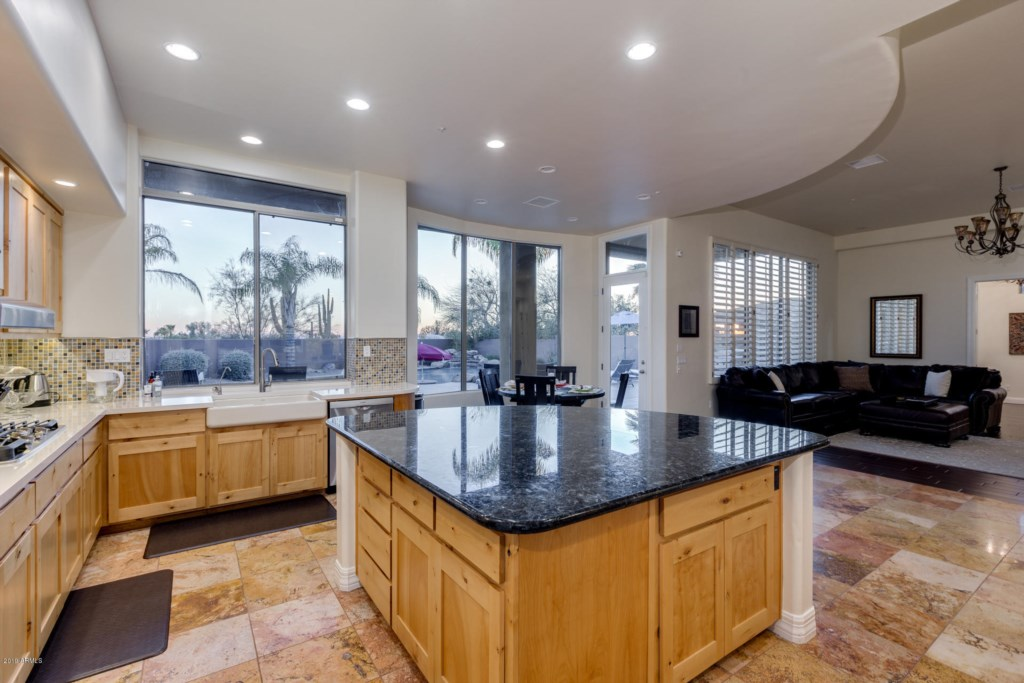 Full kitchen with stainless steel appliiances