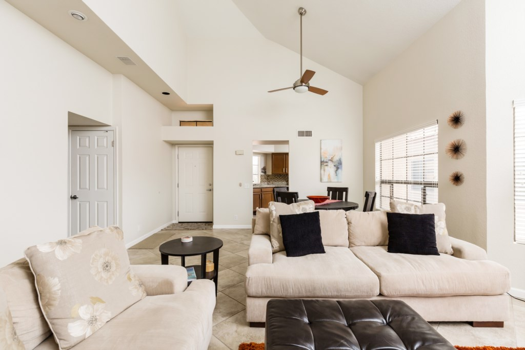Large bright living room with vaulted ceilings