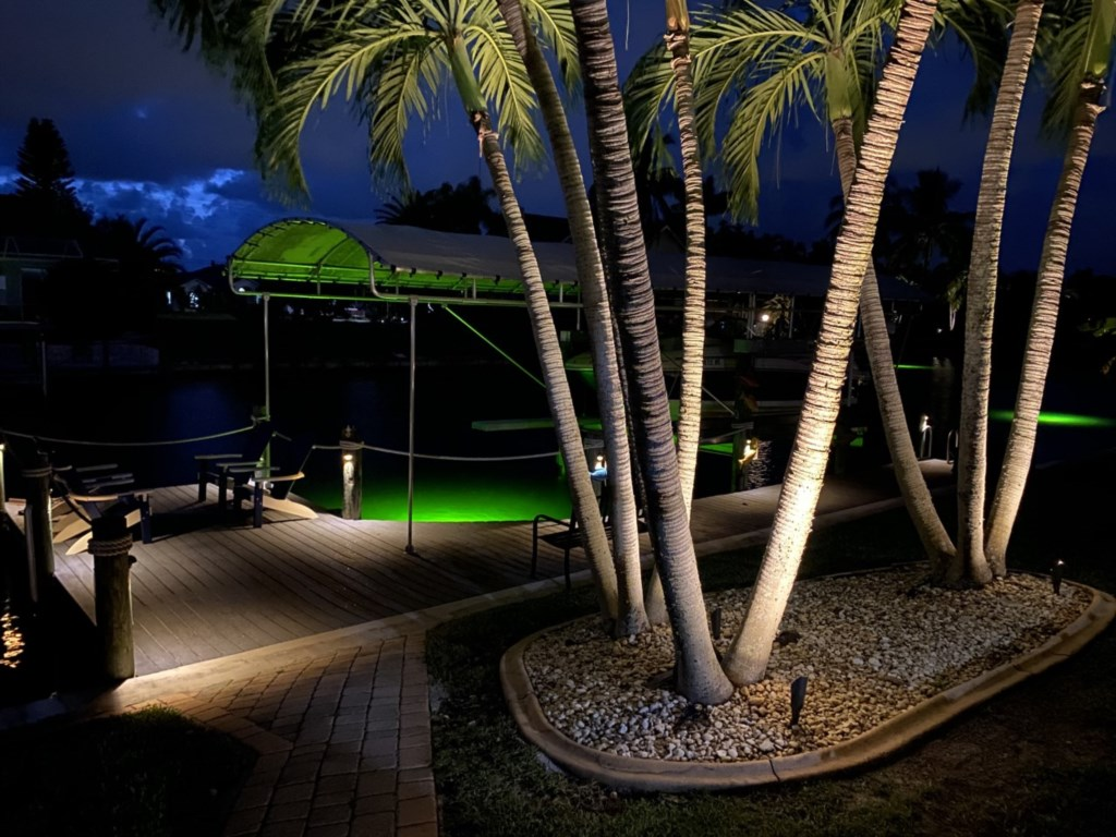 The luminating glow of the fish attractor and dockside lighting is a romantic evening backdrop