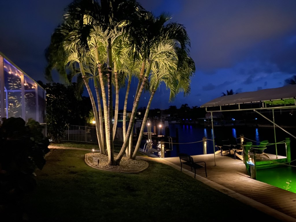 The evenings come alive with a backdrop of perfectly positioned landscape lights