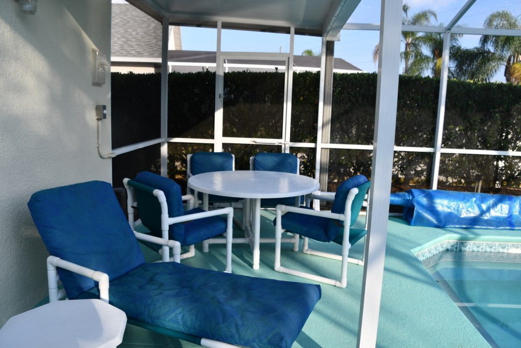 Offering outdoor dining with plenty of seating for large gatherings