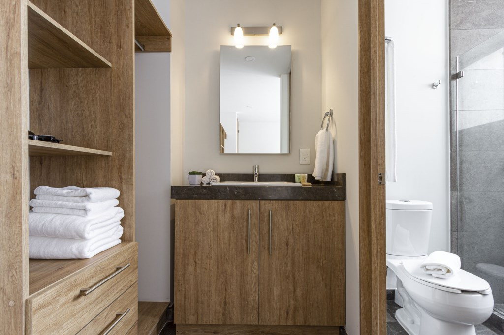 Modern master bathroom with a built in closet to hang your clothes