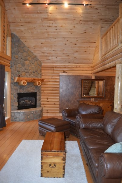 High Wooden Ceilings and Cozy Fireplace