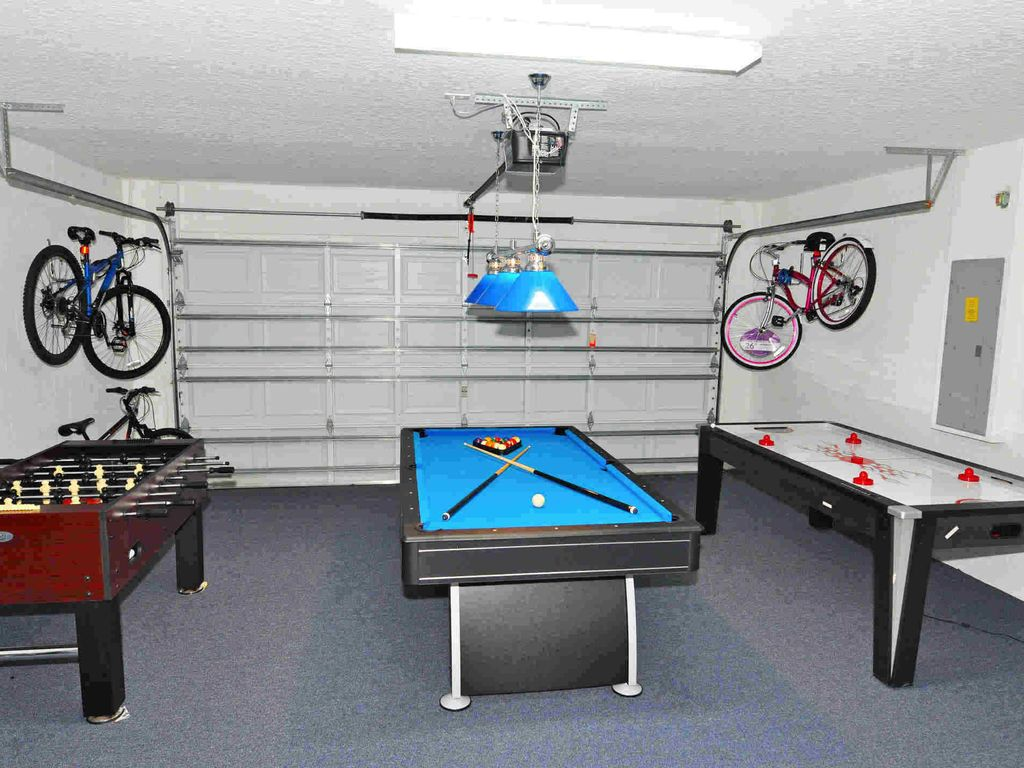 Games room with four bikes