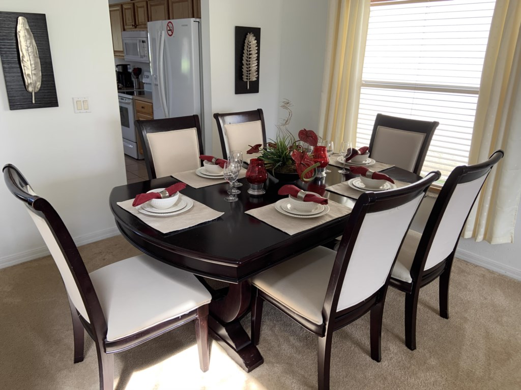 Dining area set for 6 people