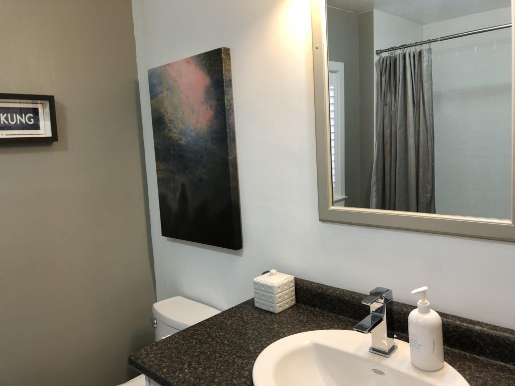 Bathroom with tub/shower combo - Kindergarten Schoolhouse - Niagara-on-the-Lake