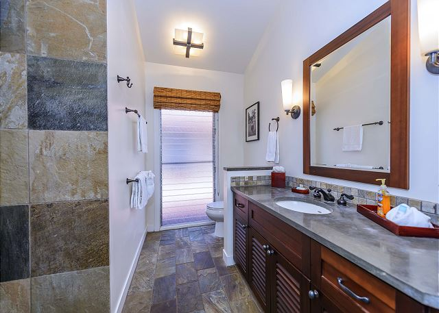 Master bath has plenty of counter space and storage.