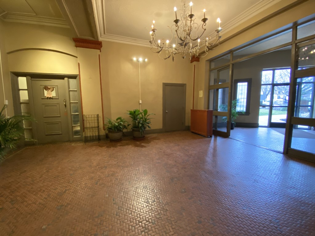 Lobby of Lindell Park Apartments. The Abbey is on the third floor of the building, accessible by steps or elevator.