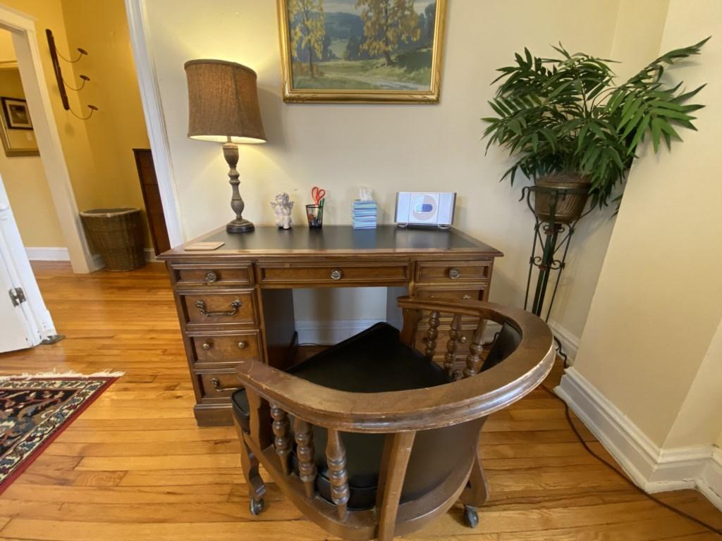 Laptop-friendly desk in the Abbey.