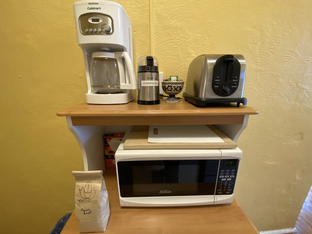Coffee maker, toaster, microwave in the Abbey.