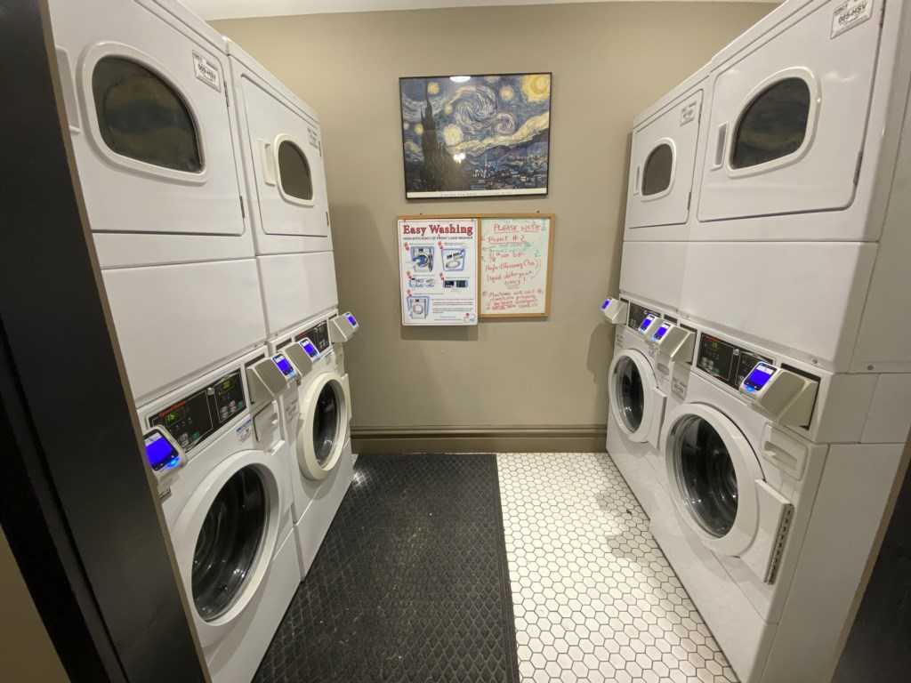 Laundromat in upper lobby. Use your credit card to wash and dry while you're in residence at the Adler Suite.
