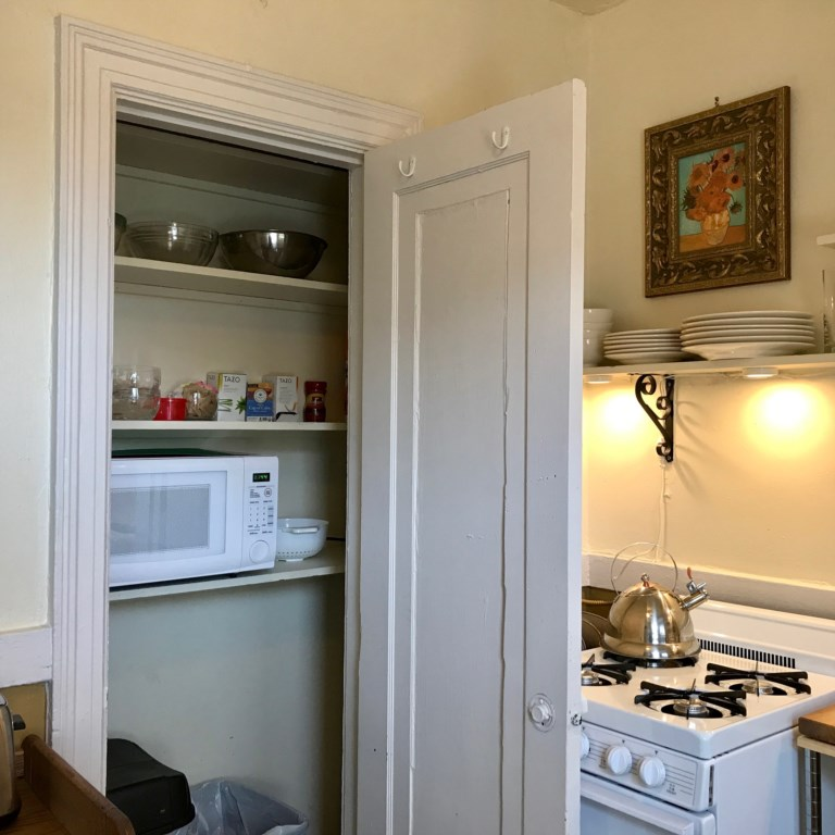 Microwave in pantry of Beckmann.