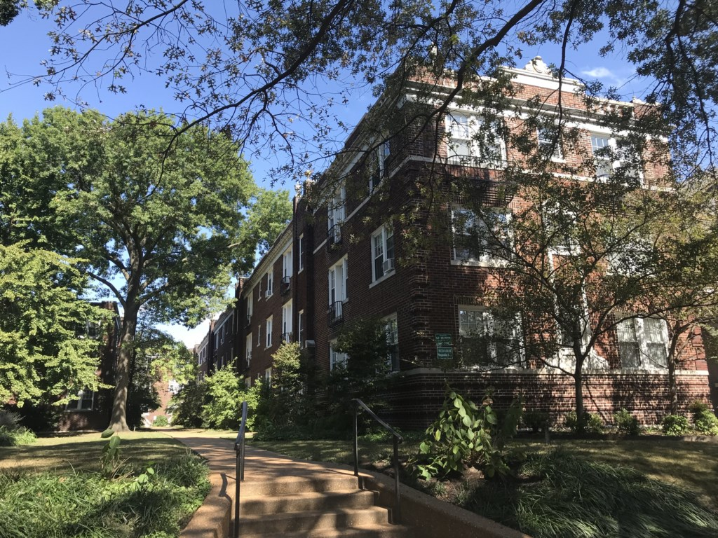The Beckmann is on the second floor of the historic Magnolia Arms apartments, across the street from Tower Grove Park.