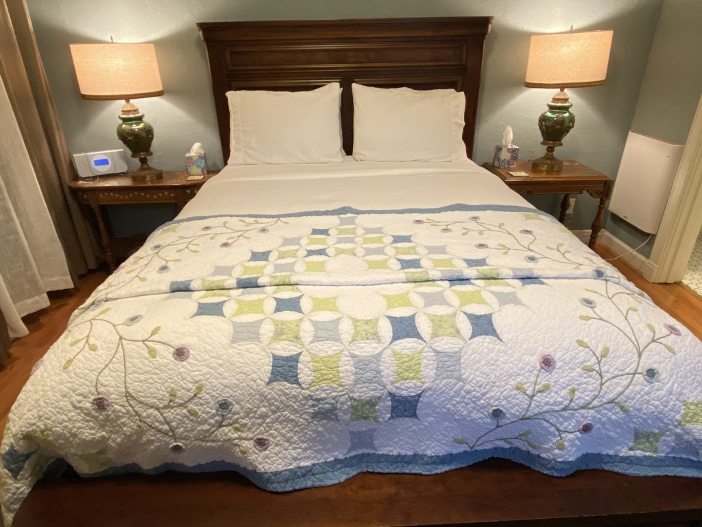 Enjoy soft linens on the Bennett's Queen-sized bed.