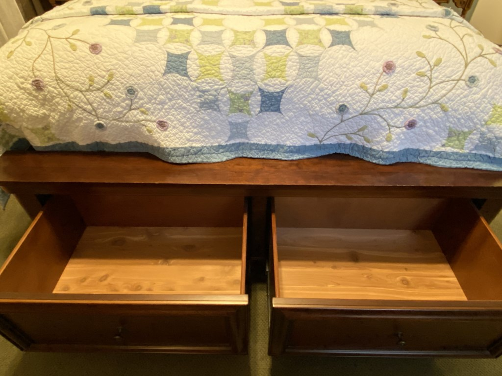 The Bennett offers a lot of storage space, including two cedar drawers in the bed frame.