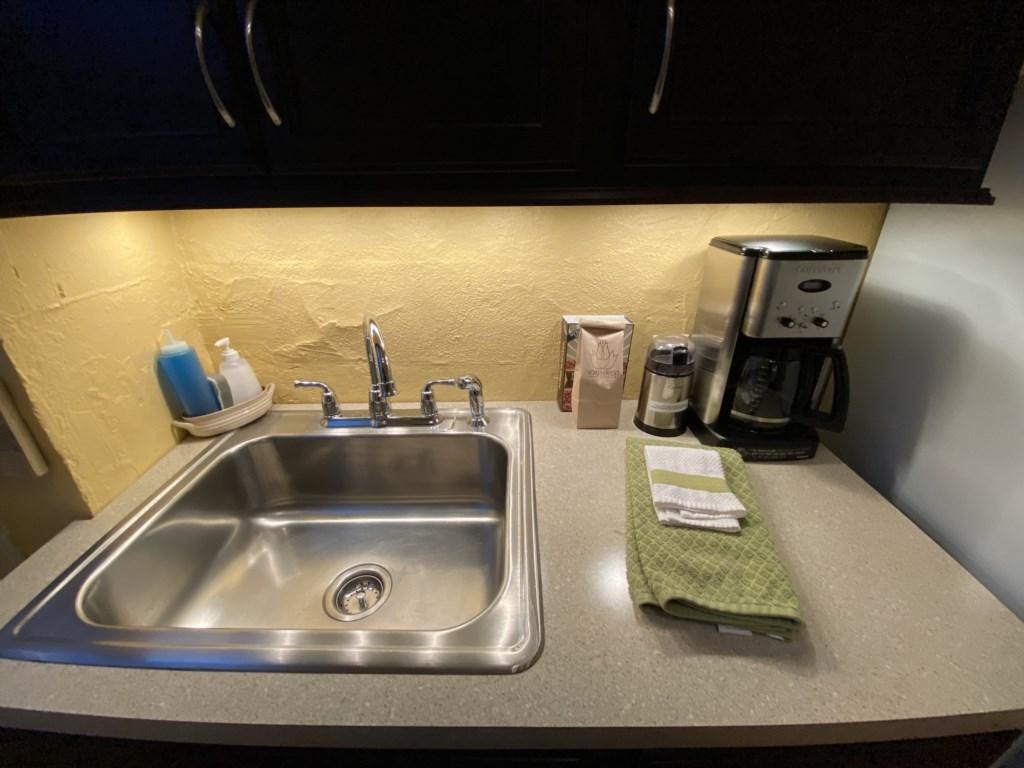 Coffee station next to the Bennett's kitchen sink.