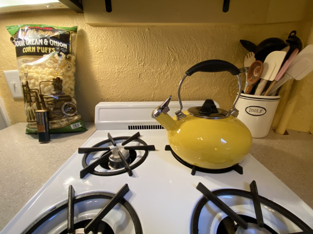 The Bennett has a gas range. You'll find a rotating selection of welcome treats, and cooking utensils in the crock.