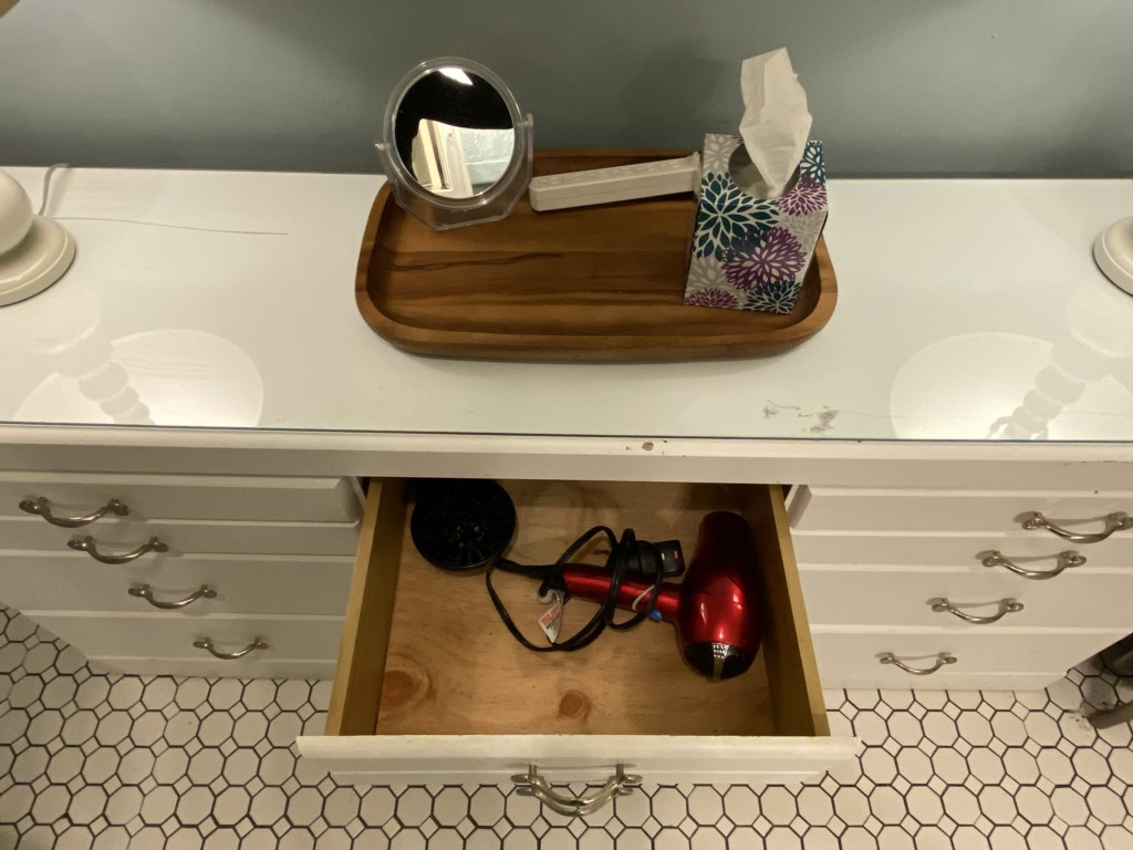 A hair dryer in this drawer.