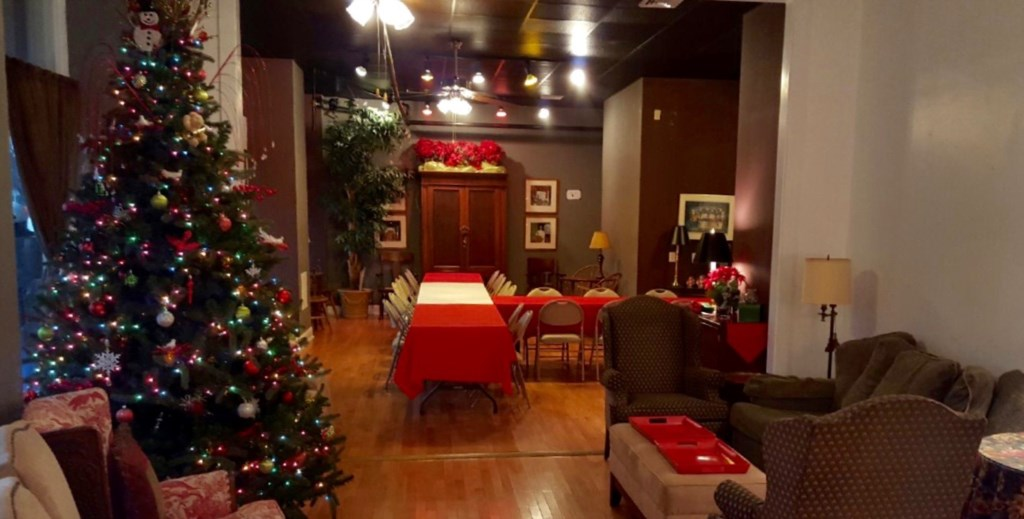 Center on Vandeventer decorated for a Christmas party