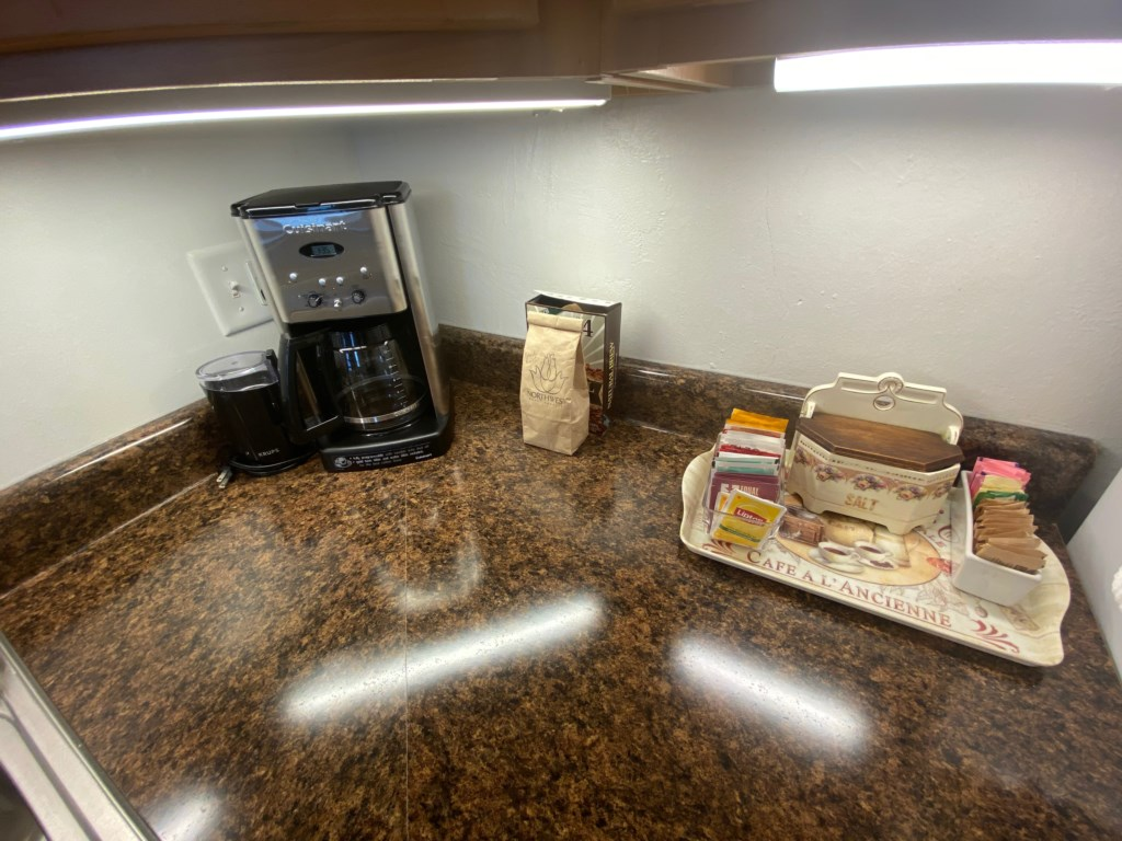Coffee station, and a selection of teas in the Emma Sale Suite.