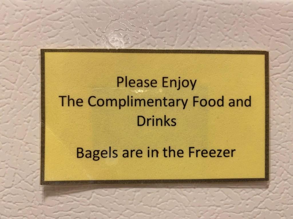 Bagels in the freezer of the Jessie Benton Suite.