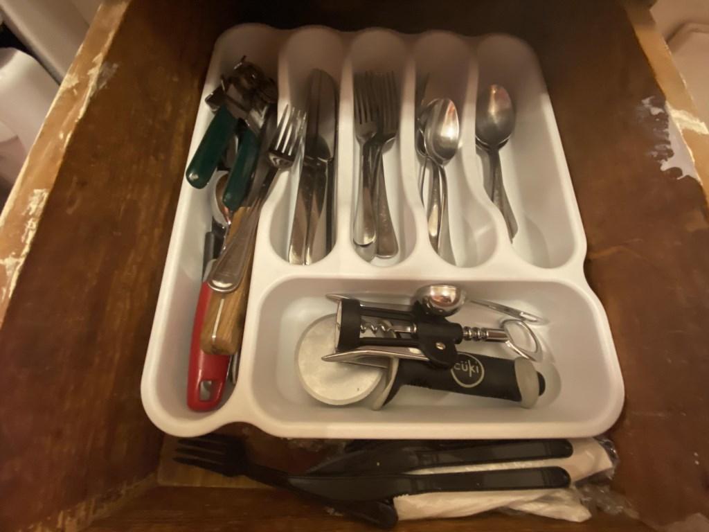 Utensils in top kitchen drawer of Jessie Benton Suite.