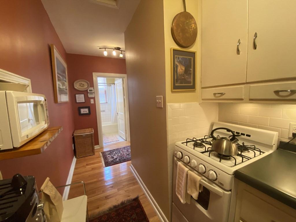 Looking from kitchen toward bathroom of Jessie Benton Suite.