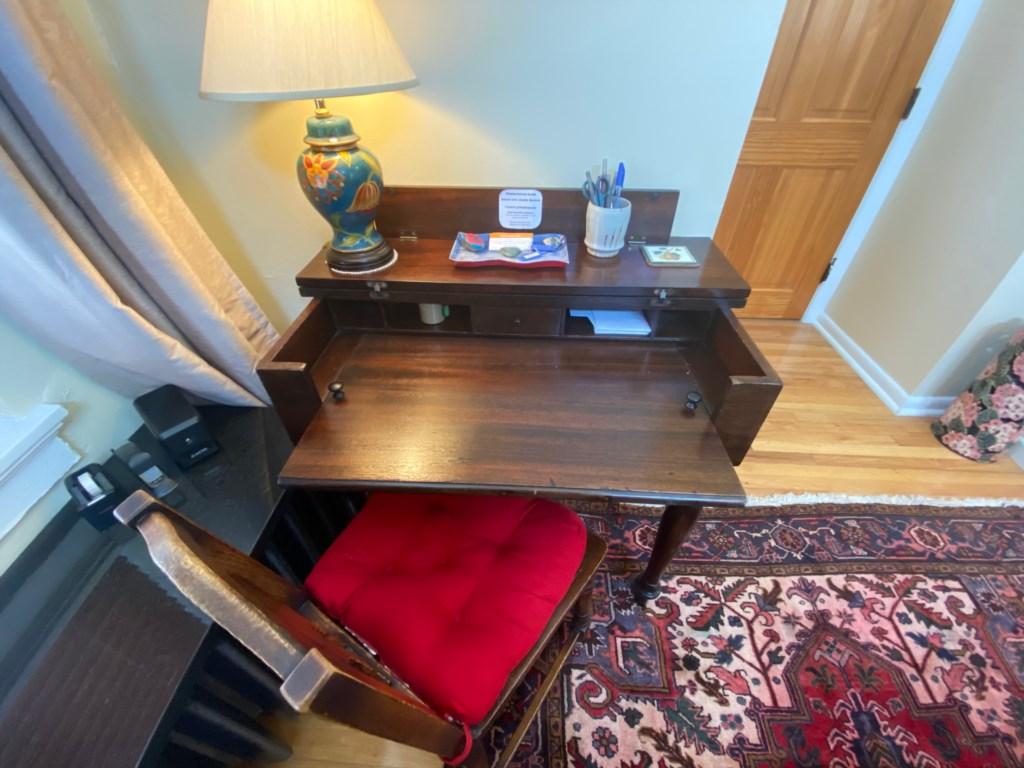 Laptop-friendly desk in the Jessie Benton Suite.