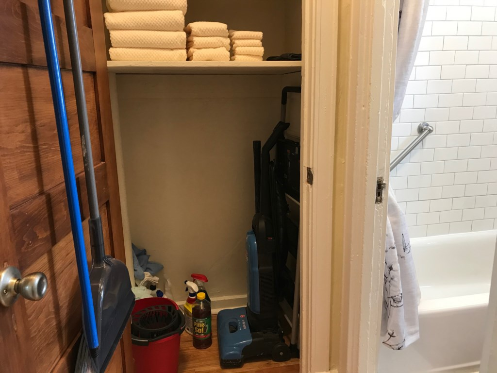 Extra towels and cleaning supplies